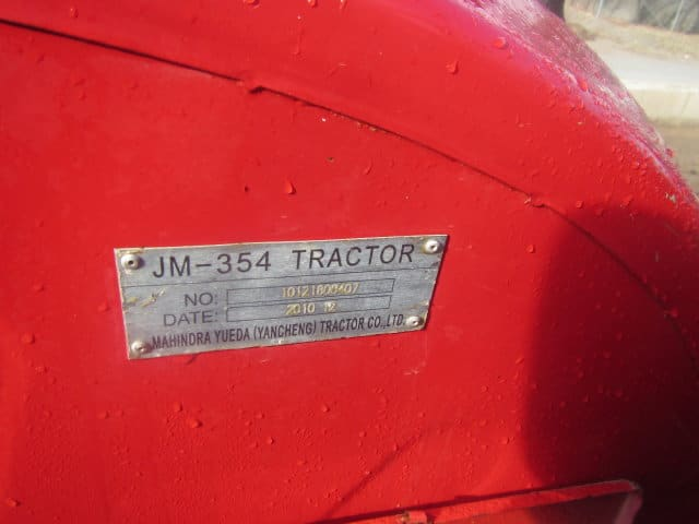 Used Jinma 354 Info plate